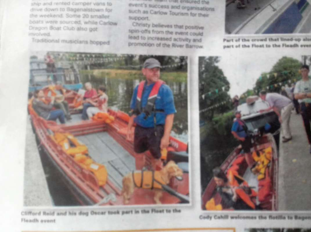 Newspaper picture of Boat Trips Ireland owner Cliff Reid