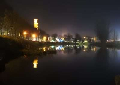 View of river Barrow at night in Athy, Kildare, Ireland
