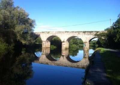 Ballytiglea bridge on river Barrow at Borris in summer with a blue sky