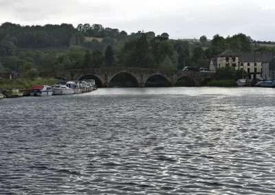 Bridge and boats at Graiguenamanagh on the river Barrow in Ireland