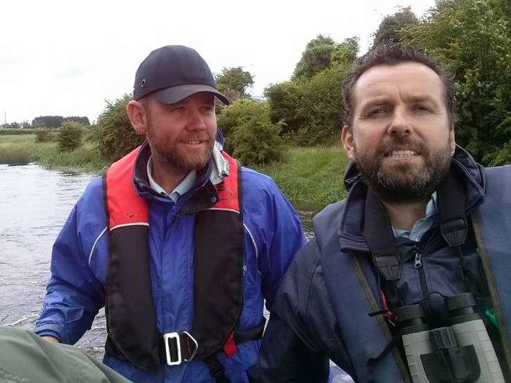 Clifford Reid & Chris McKenna on a boat on river Barrow in Kildare