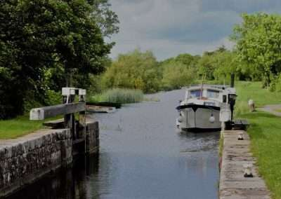 Boat moored at Fenniscourt Lock on river Barrow Navigation in county Carlow