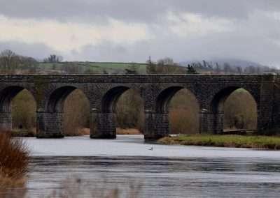 Large railway bridge across the river Barrow in a grey day