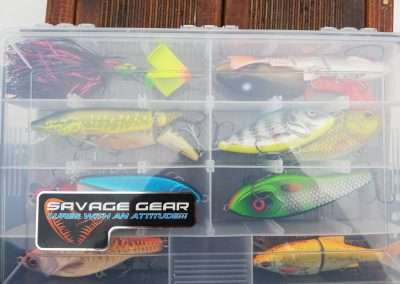 Fishing plug baits in a tackle box