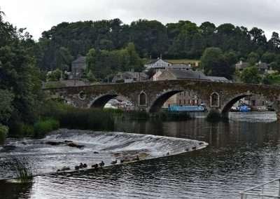 Weir and bridge on the river Barrow at Graiguenamanagh, Kilkenny, Ireland. Mallard ducks on the weir.