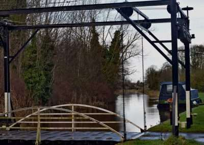 Lifting Bridge at Levitstown, county Kildare. Moored barge in background