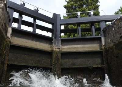 View of breast gates from inside Milford lock on the river Barrow in Carlow. Water leaking through the gates.