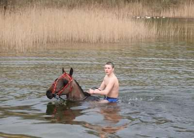 Young man on a horse in a lake at Kellyville, county Laois, Ireland
