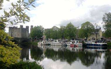 Boats moored on river Barrow at Castle in Athy, County Kildare, Ireland