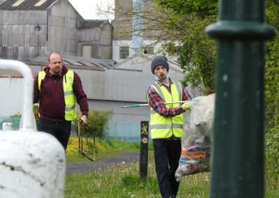 Cllr Mark Leigh & Evan Pereira collecting rubbish and picking litter in Athy, county Kildare, Ireland.