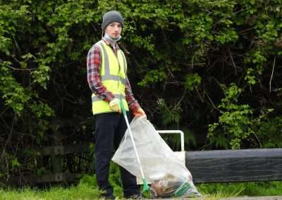 Evan Pereira doing a litter pick on the river bank in Athy, county Kildare, Ireland.