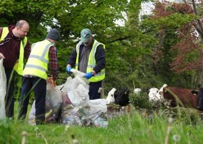 Volunteers gathering rubbish at the river clean up in Athy, Ireland.